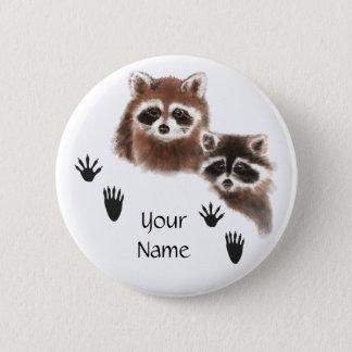 Custom Raccoons with Footprints 6 Cm Round Badge