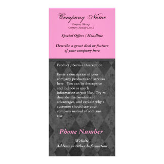 Custom Rack Card, Black and Pink Design, Printing Personalised Rack Card