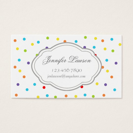 Custom Rainbow Confetti Pattern Business Cards