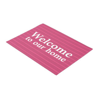 Custom Raspberry Pink Stripes Welcome to Our Home Doormat
