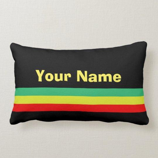 Custom Rasta-Striped Home Decor Lumbar Cushion