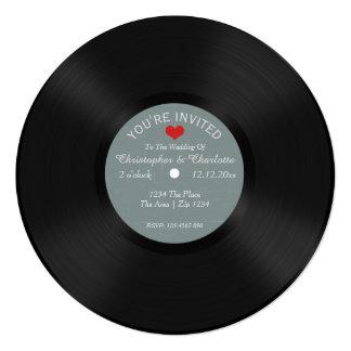Custom Record Album Novelty Wedding 13 Cm X 13 Cm Square Invitation Card