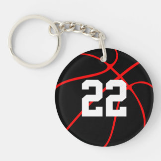Custom Red and Black Basketball Key Chain