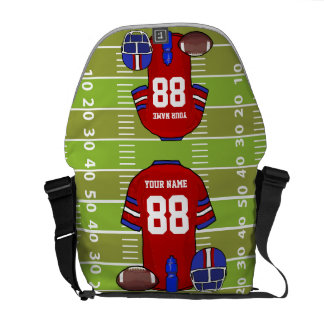 Custom Red and Blue Football Jersey on Field Messenger Bag