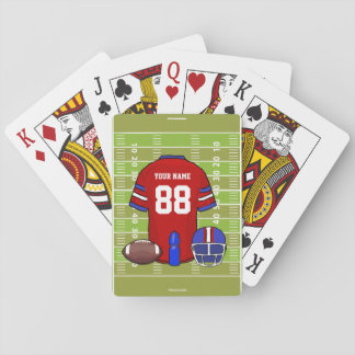 Custom Red and Blue Football Jersey on Field Playing Cards