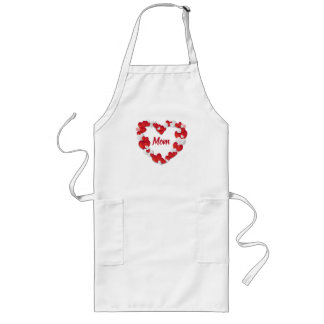 Custom Red and White Hearts Mom Long Apron