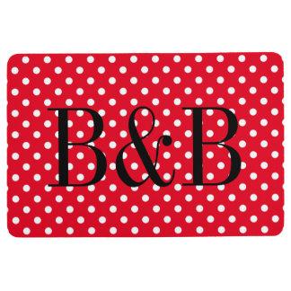 Custom red and white polka dot pattern floor mat