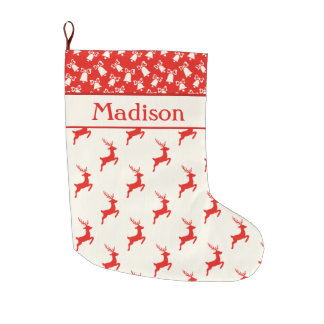 Custom Red and White Reindeer and Bells Large Christmas Stocking