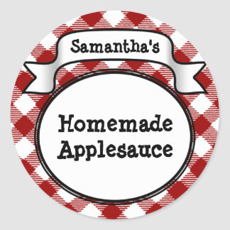 Custom Red Apple/Applesauce Canning Jar Label Round Sticker