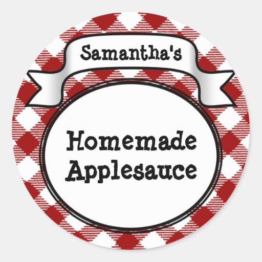 Custom Red Apple/Applesauce Canning Jar Label Round Stickers