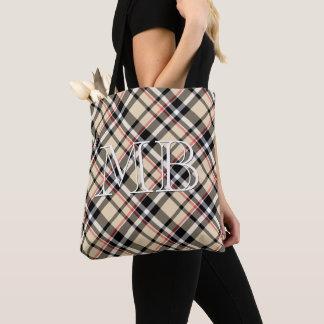 Custom Red Beige Black White Squares Plaid Pattern Tote Bag