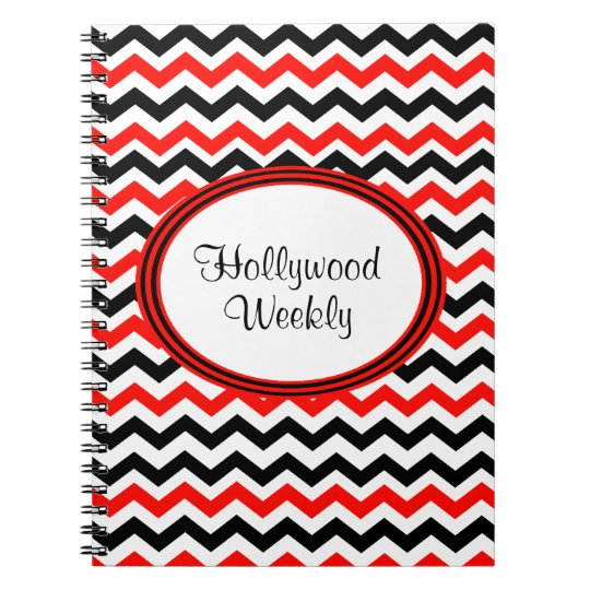 Custom Red Black and White Chevron Notebook
