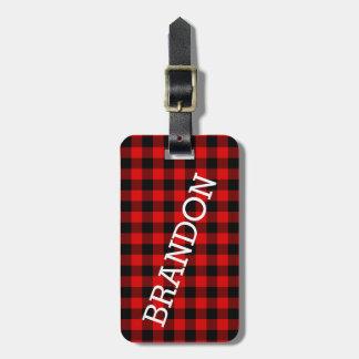 Custom Red Black Buffalo Check Plaid Pattern Luggage Tag