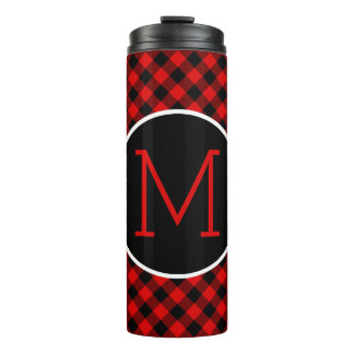 Custom Red Black Buffalo Check Plaid Pattern Thermal Tumbler