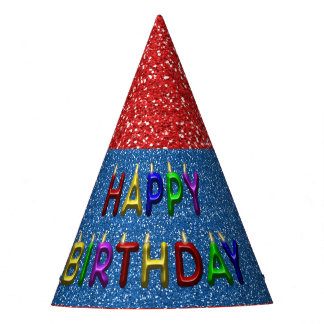 Custom Red & Blue Glitter Birthday Party Hat