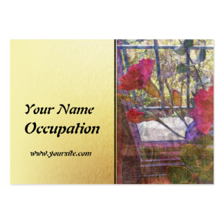 Custom Red Carnations and Gold Panel Business Card