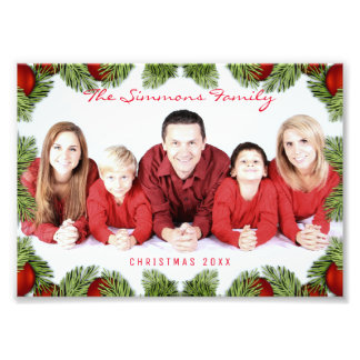 Custom Red Christmas Family Photo and Name