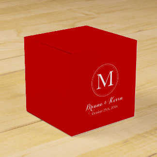 Custom Red Colored Monogram Favor Boxes