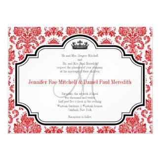 Custom Red Damask Black White Wedding Invitations