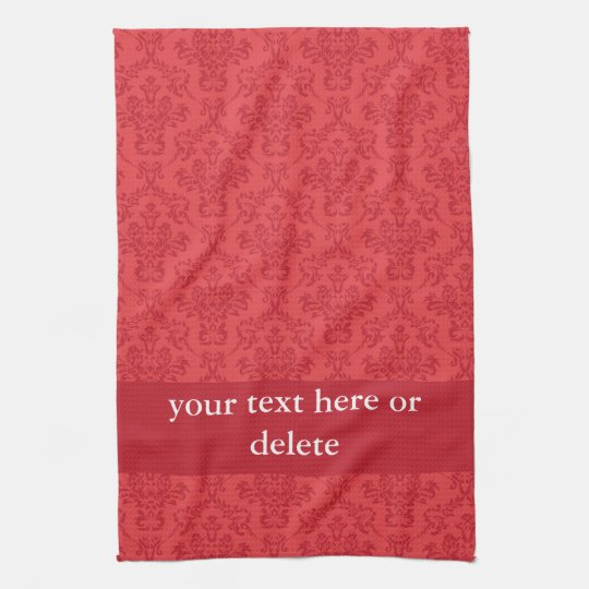 Custom red damask pattern kitchen tea towel