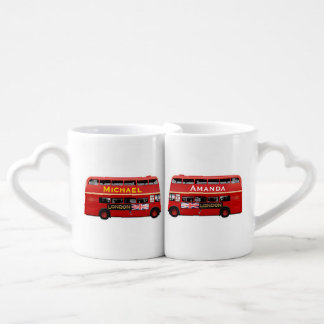 Custom Red Double Decker Buses Coffee Mug Set