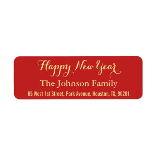 Custom Red Faux Gold Happy New Year Return Address