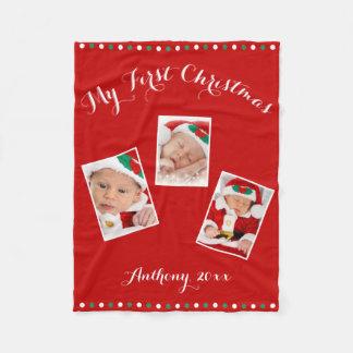 Custom Red Fleece Blankets My First Christmas