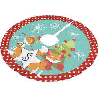 Custom Red Fox Christmas Holiday Tree Skirt 2
