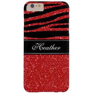 Custom Red Glitter Black Zebra iPhone 6 Plus Case