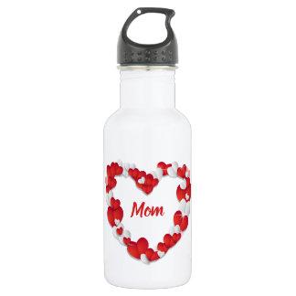 Custom Red Hearts Border Mom 532 Ml Water Bottle