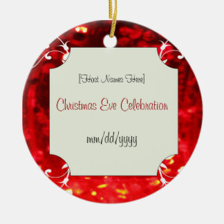 Custom Red Jewel Christmas Eve Favors Round Ceramic Decoration