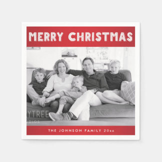 Custom Red Merry Christmas Photo Paper Napkins