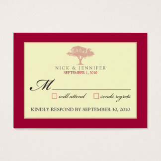 "::CUSTOM:: Red Oak Tree 3.5""x2.5"" RSVP Card"
