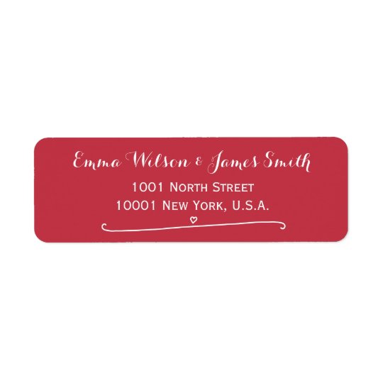 Custom Red Personalised Address Labels Heart