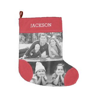 Custom Red Photo Collage Large Christmas Stocking