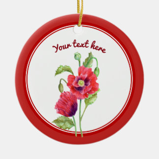 Custom Red Poppies Botanical Floral Art Christmas Ornament