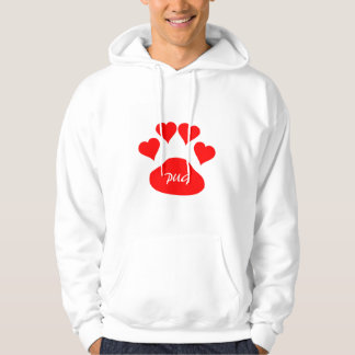Custom Red Pug Love Large Black Dog Paw Hearts Hoodie