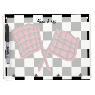 Custom red race flag dry erase board with key ring holder