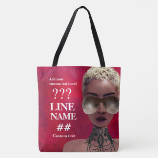 Custom Red Sorority Black Art Tote Bag