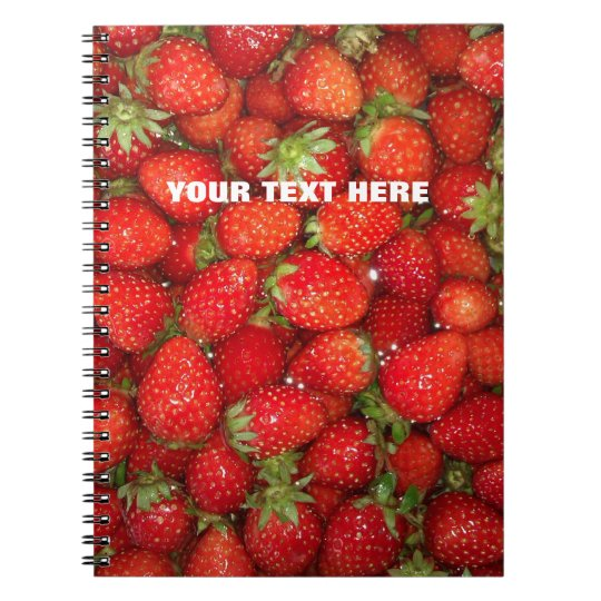 Custom red strawberry photo food journal notebook