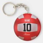 Custom Red Volleyball Key Ring