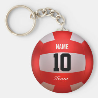 Custom Red Volleyball Key Ring