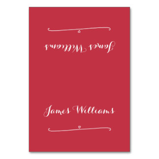 Custom Red Wedding Place Setting Cards Table Cards