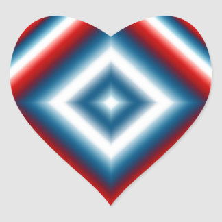 Custom Red White and Blue Abstract Heart Sticker