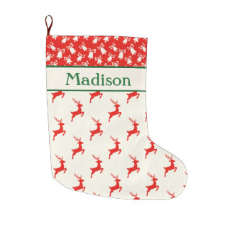 Custom Red White and Green Reindeer and Bells Large Christmas Stocking