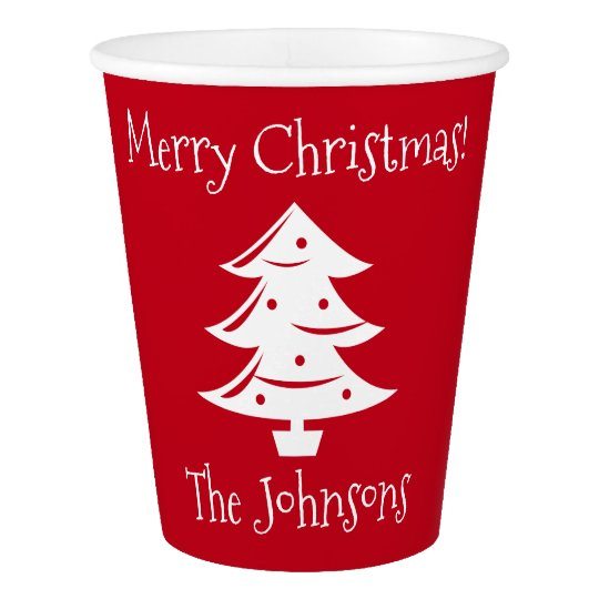 Custom red white Christmas tree party cup supplies