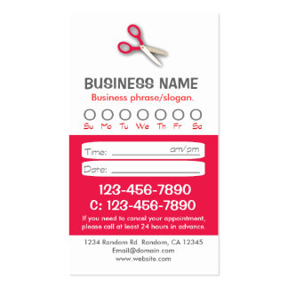 Custom red white hair appointment cards pack of standard business cards