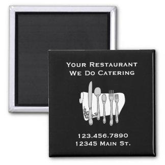 Custom Restaurant Black and White Siverware Magnet