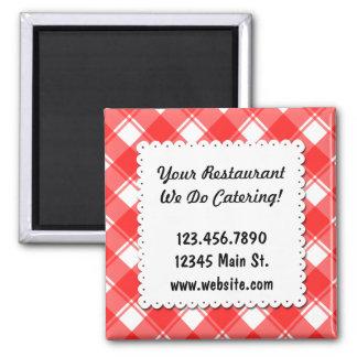 Custom Restaurant Template Red Checks Magnet