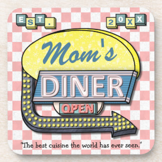 "Custom Retro 50's ""Mom's Diner"" Sign: Mother's Day Coaster"